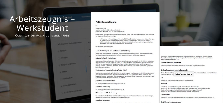 Das Muster der fertigen PDF: Arbeitszeugnis für Werkstudenten