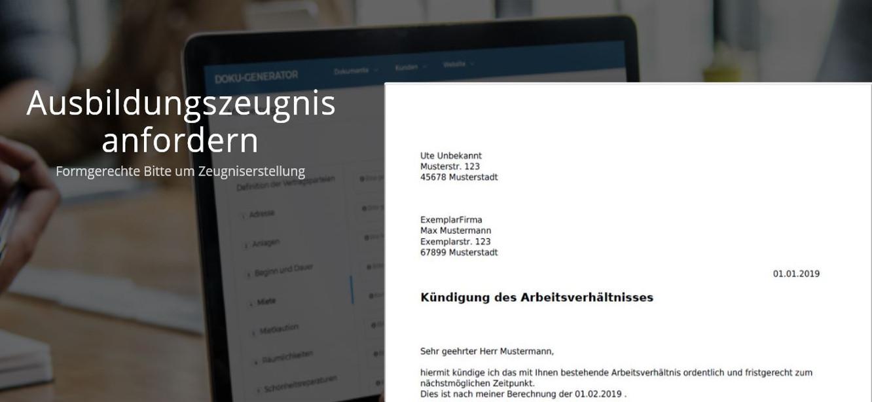Vorschau der fertigen PDF, um ein Ausbildungszeugnis anzufordern