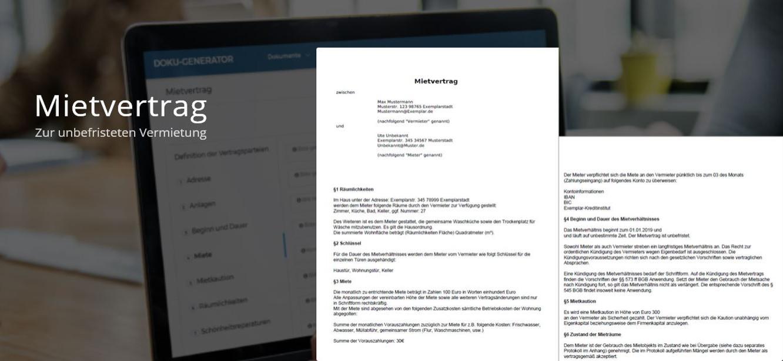 Beispiel der fertigen PDF des Mietvertrags - Zur unbefristeten Vermietung von unmöblierten Wohnungen