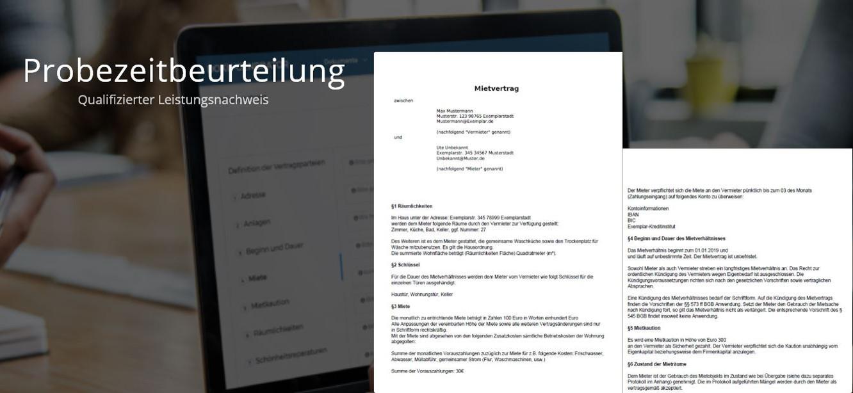 Beispiel der fertigen PDF der Probezeitbeurteilung - Alternative für ein reguläres Zwischenzeugnis nach der Probezeit