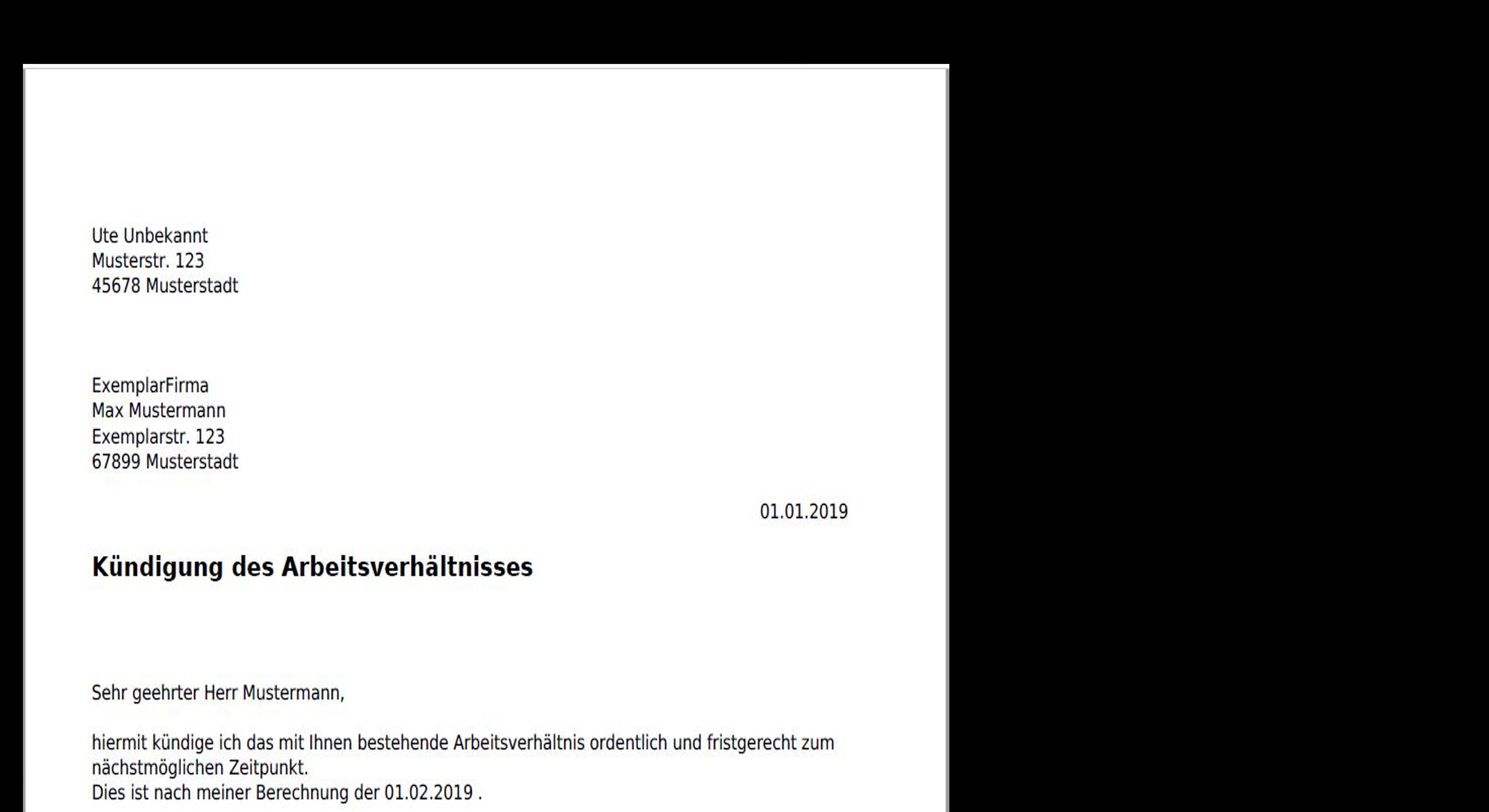 Großansicht: Muster der fertigen PDF einer formgerechten Kündigung des Arbeitsverhältnisses
