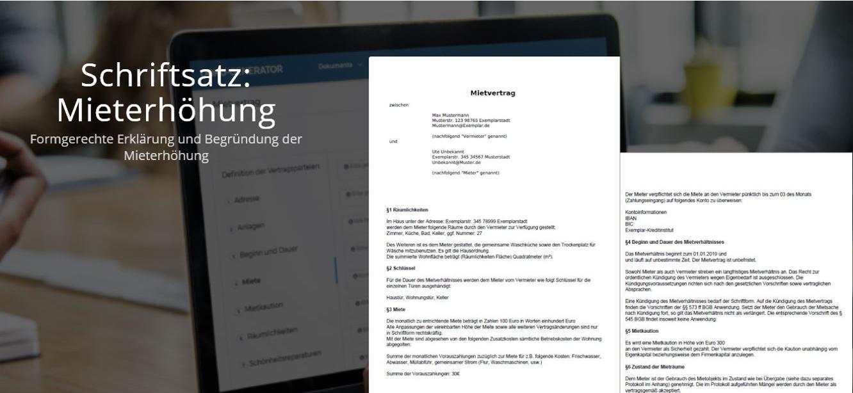 Muster des Schriftsatzes zur Mieterhöhung - In nur 5 Minuten zum fertigen PDF. Jetzt direkt zum Brief-Generator!